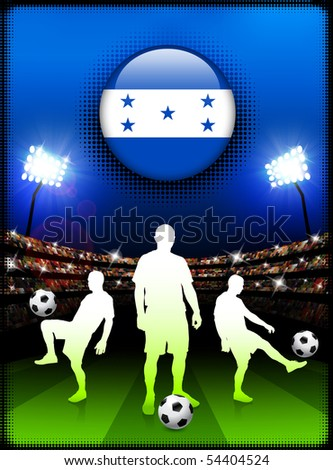 Honduras Flag Button with Soccer Match in Stadium Original Illustration - stock vector