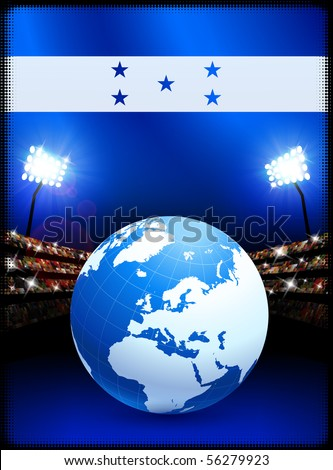 Honduras Flag with Globe on Stadium Background Original Illustration - stock vector
