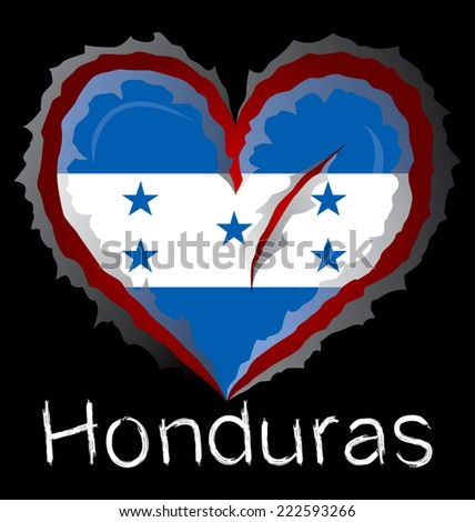 Honduras flag with in claw scratches - stock vector