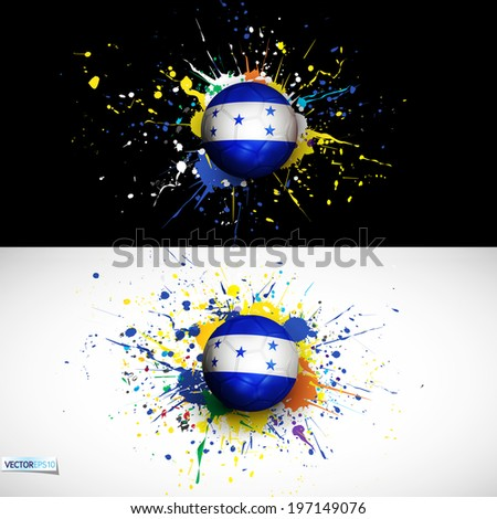 Honduras flag with soccer ball dash on colorful background, vector illustration - stock vector