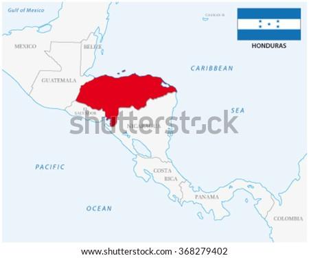 honduras map with flag - stock vector