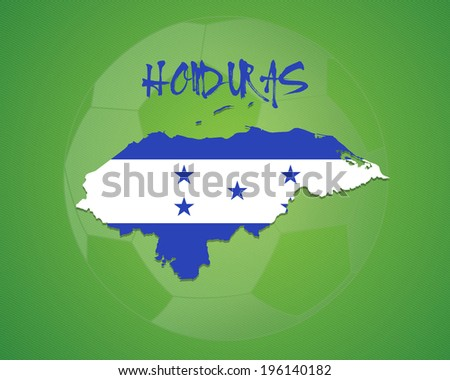 HONDURAS vector illustration, map with soccer ball - stock vector