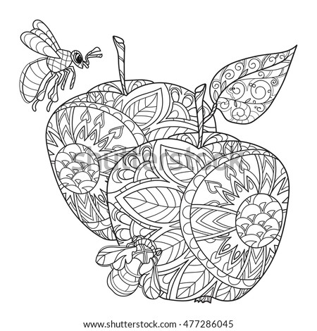 Honey Apple Doodle And BeesHand Drawn Vector Illustration Sketch For Tattoo Adult Coloring