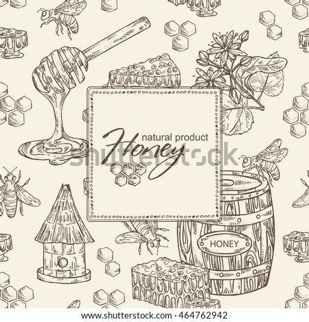 Honey background with a jar of honey, linden flower and honeycomb with a bee, hand drawn
