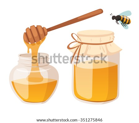 Honey bank vector illustrations. Apiary vector symbol. Bee, honey, honey bank, honeycomb. Honey natural healthy food production. Honey bank isolated. Bee, flowers, beehive and wax. honey bee vector - stock vector