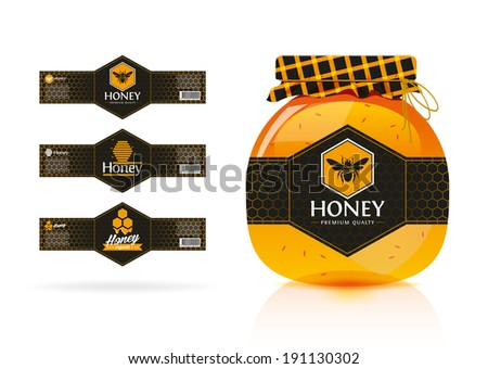 Honey banner - sticker design 3. - stock vector