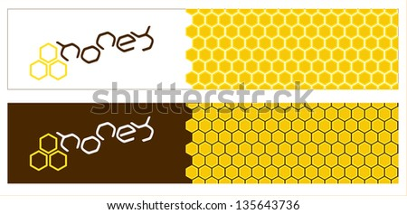 Honey banners with honeycomb pattern and text. Square, horizontal.