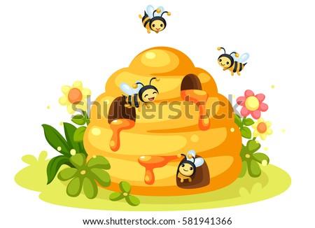 Honey Bee And Hive Cartoon
