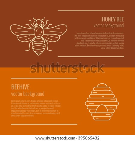 Honey bee and beehive banner. Honey bee and beehive vector symbol. Outline style Honey bee and beehive banner. Mead bee and beehive illustration. Vector illustration of Honey bee and beehive banner - stock vector
