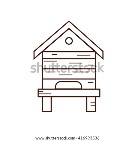 Honey bee beehive illustration. Beehive vector symbol. Bee, honey, bee house, honeycomb, beehive, flower. Outline style honey bee beehive. Vector icon beehive. Mead bee beehive illustration - stock vector