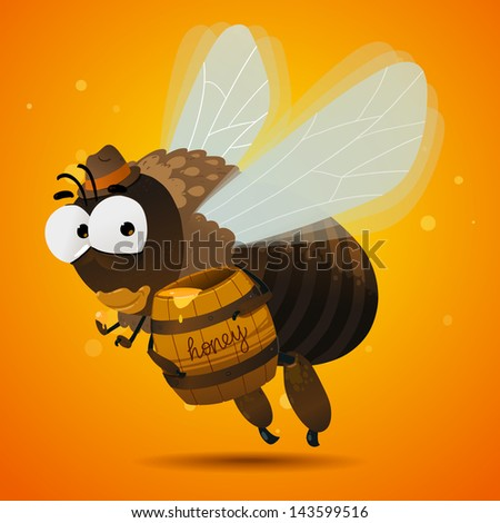 Honey bee drone. Male bee eating honey - stock vector