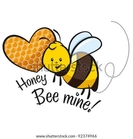 Honey Bee mine! Cute Valentine's day illustration - stock vector
