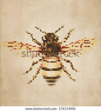 Honey Bee portrait made of geometrical shapes - Vintage Design - stock vector