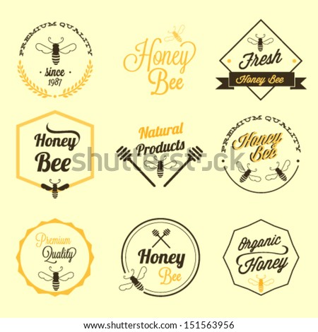 Honey bee vector set - stock vector