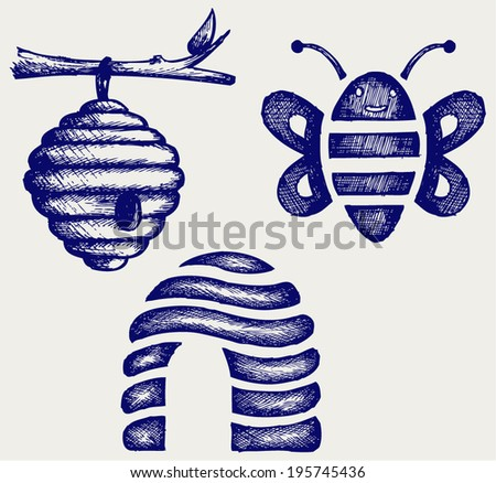 Honey bees and hive. Doodle style - stock vector