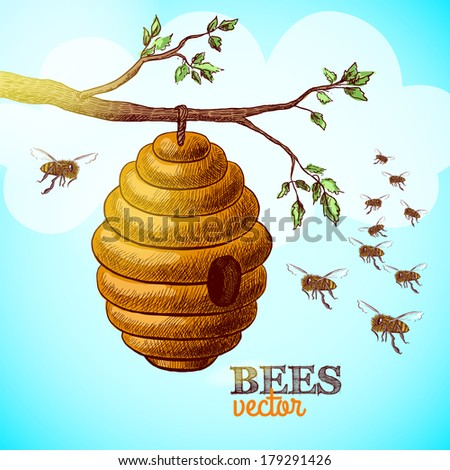 Honey bees and hive on tree branch background vector illustration - stock vector