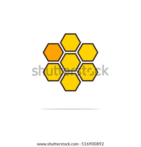 Honey color thin line icon.Vector illustration