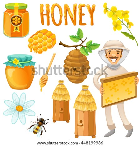 Honey colored and isolated icon set with happy beekeeper works on an apiary vector illustration