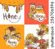 Honey design concept set with beekeeper apiary sketch icons isolated vector illustration - stock