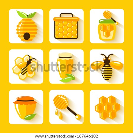 Honey drop comb bee hive and cell food agriculture flat icons set isolated vector illustration - stock vector