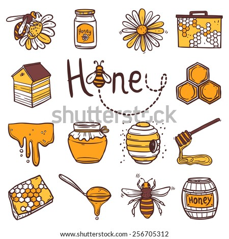 Honey hand drawn decorative icons set with beehive wax cell flying bee isolated vector illustration - stock vector