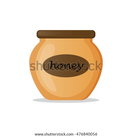 Honey jar isolated icon on white background. Natural sweet organic product from apiary farm.Flat style vector illustration.