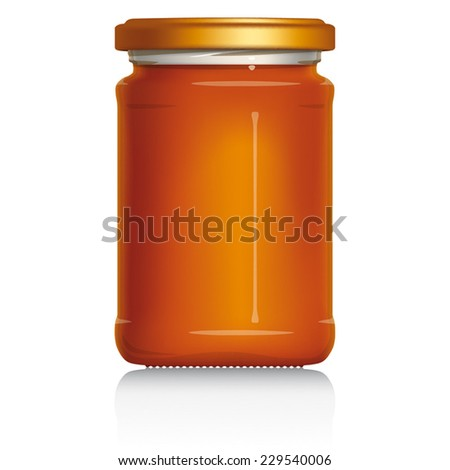 Honey Jar without label, vector visual illustration, Drawn with mesh tool. Fully adjustable & scalable. - stock vector