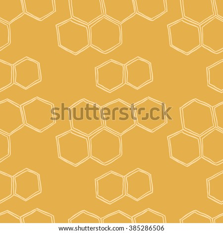Honey Meadows seamless vector pattern. Flowers, bees, butterflies, honeycombs. Cute summer theme for scrapbook paper, fabrics and web.