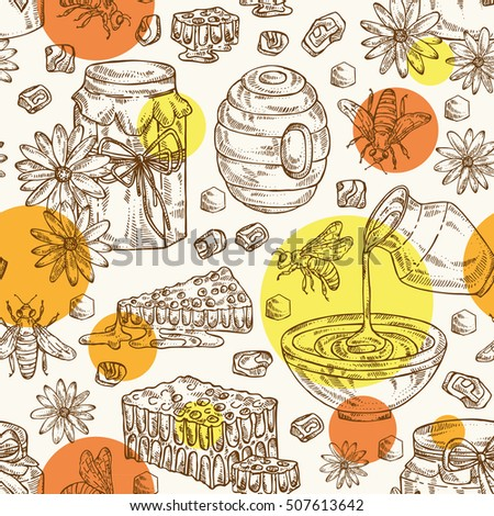 Honey seamless with a jar of honey, a bee, hive, flower and honeycomb. hand drawn