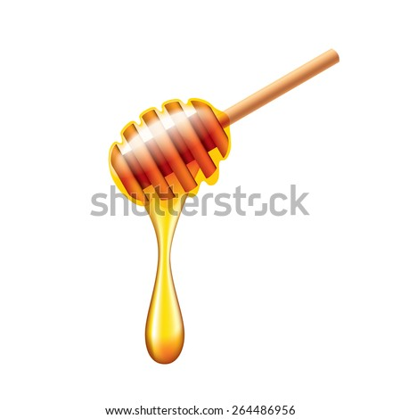 Honey stick with flowing honey isolated on white photo-realistic vector illustration