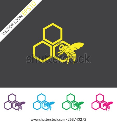 Honey vector icon. Honeycomb symbol. Bee on a part of honeycomb. - stock vector