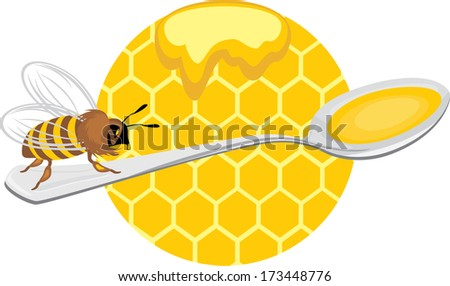 Honeybee on the spoon. Icon for design. Vector