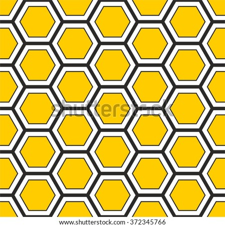 Honeycomb pattern vector, hexagons pattern, abstract geometric pattern in yellow and black - stock vector