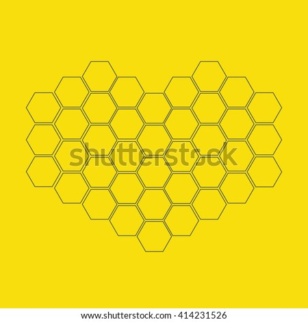 Honeycomb set in shape of heart. Beehive element. Honey icon. Isolated. Yellow background. Flat design. Flat design. Vector illustration