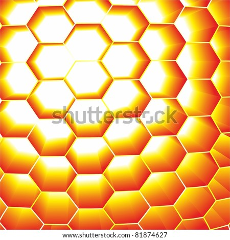 Honeycomb yellow. Abstract vector background. - stock vector