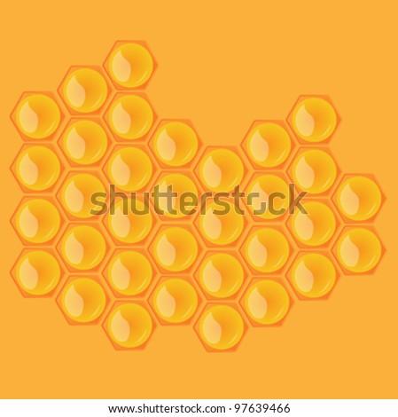 Honeycombs on orange background - stock vector