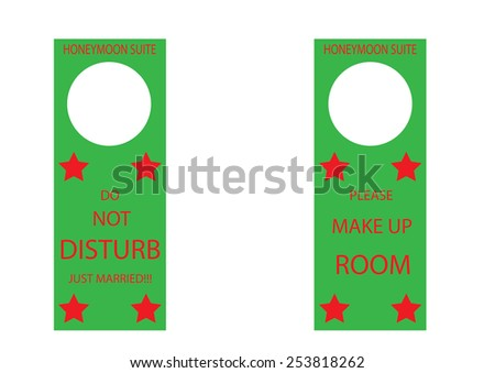 Honeymoon Suite Do Not Disturb Hangers. Vector