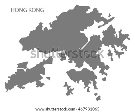 Hong Kong China Map Grey Stock Vector HD Royalty Free 467931065