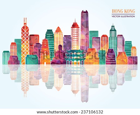 Hong Kong detailed silhouette. Vector illustration - stock vector