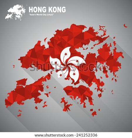 Hong Kong flag overlay on Hong Kong map with polygonal and long tail shadow style (EPS10 art vector) - stock vector