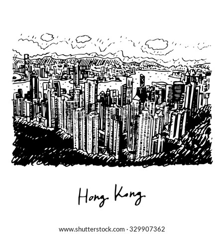 Hong Kong skyline. View from Victoria Peak. Vector freehand sketch. - stock vector