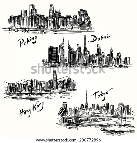 Hong Kong, Tokyo, Dubai, Peking - hand drawn collection - stock vector