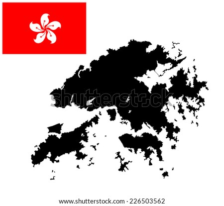 Hong Kong vector map and vector flag high detailed silhouette illustration isolated on white background. - stock vector