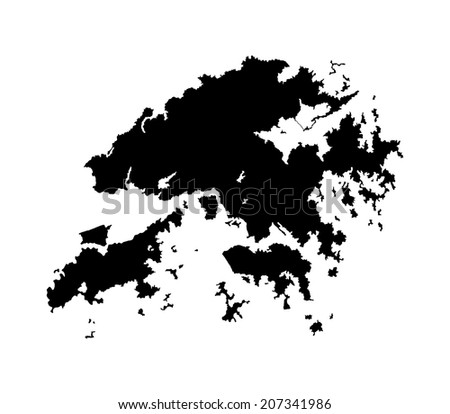 Hong Kong vector map isolated on white background silhouette. High detailed illustration. - stock vector