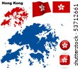 Hong Kong vector set. Detailed region shape, flags and icons isolated on white background. - stock photo