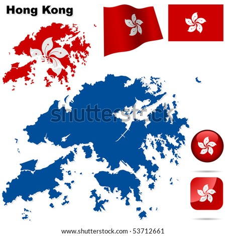 Hong Kong vector set. Detailed region shape, flags and icons isolated on white background. - stock vector