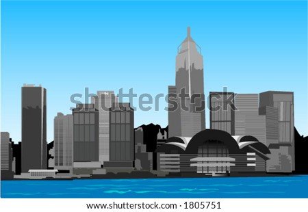 Hongkong Urban Scene - Vector - stock vector
