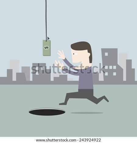 Hook with money and people get to trap - stock vector