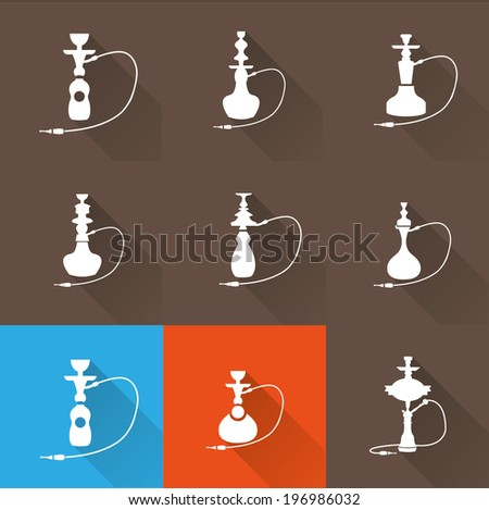 Hookah icon set 2 - stock vector