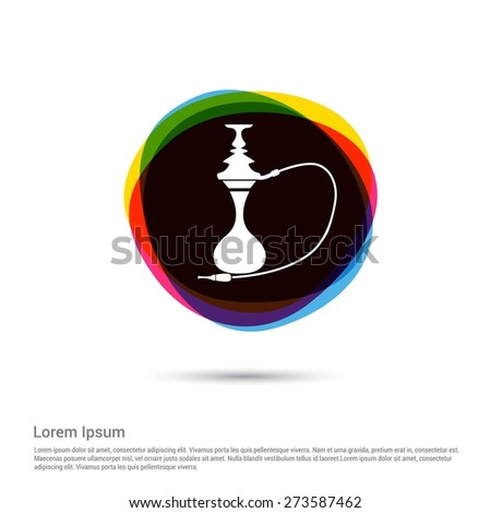 Hookah icon, White pictogram icon creative circle Multicolor background. Vector illustration. Flat icon design style - stock vector